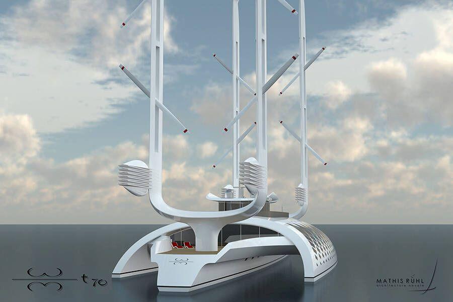 BILDER: Yacht med dubbla roterande master