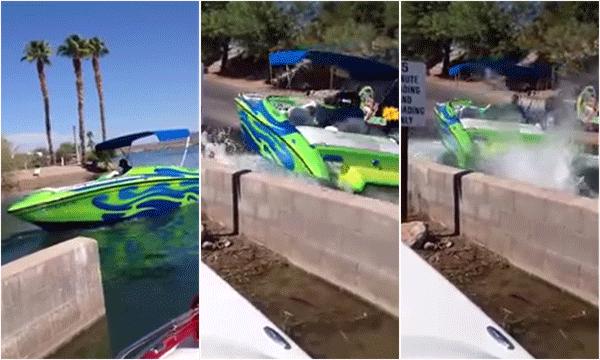 Här fastnar han med gasen i nya speedboaten