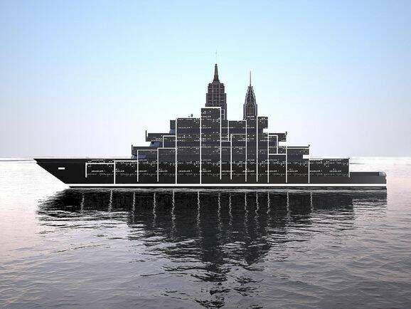 Superyachten har en skyskrapa ombord