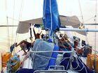 Gambias djungel med segelbåt